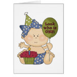 Girl Look Who's One Birthday Tshirts and Gifts Greeting Card