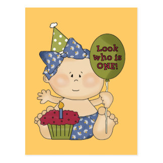 Girl Look Who's One Birthday Tshirts and Gifts Postcard
