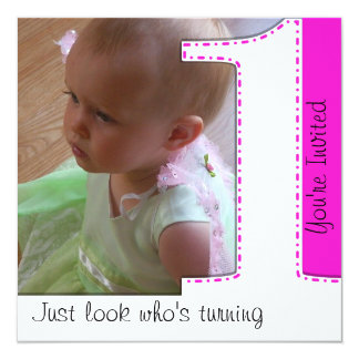 Girl Look Who's Turning 1 Birthday Invitation
