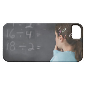Girl looking at math equations on blackboard case for the iPhone 5
