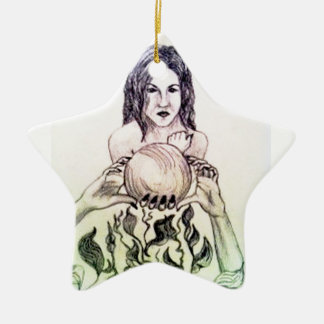 Girl looking into a crystal ball ceramic star decoration