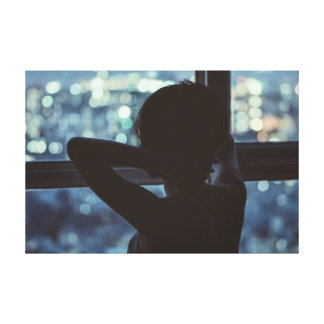 Girl looking out of her Window Canvas Print