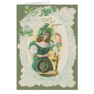 Girl Loom Doily Shamrock Clover Greeting Card