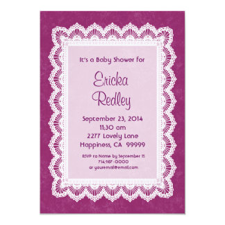 GIRL Magenta and White Lace Baby Shower V17A 13 Cm X 18 Cm Invitation Card