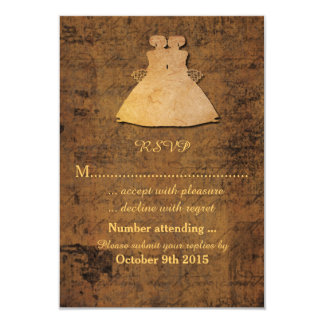Girl Meets Girl Lesbian Wedding RSVP 3.5x5 Paper Invitation Card