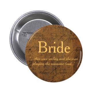 Girl Meets Girl Love Story Lesbian Bride's Badge