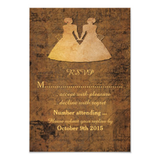 Girl Meets Girl Love Story Lesbian Wedding RSVP 3.5x5 Paper Invitation Card