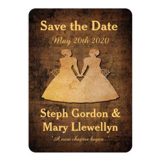 Girl Meets Girl Save the Date Card Lesbian Wedding 11 Cm X 16 Cm Invitation Card