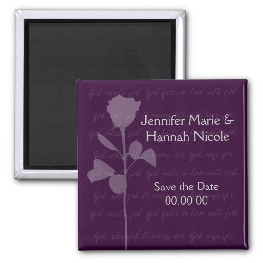 Girl Meets Girl Save the Date Square Magnet