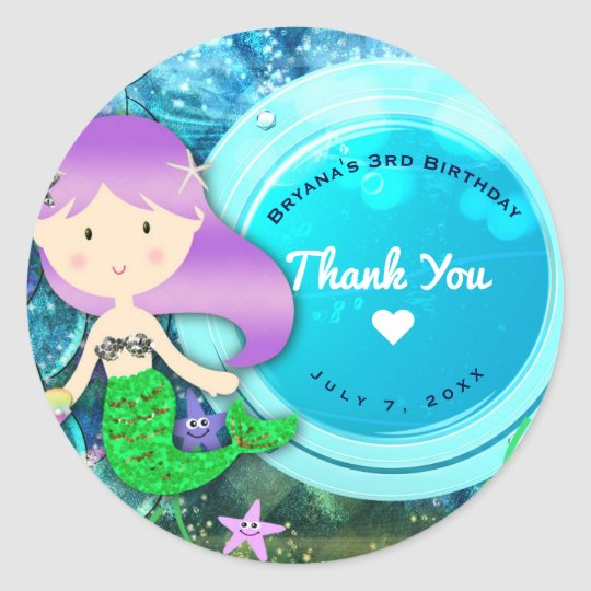 Girl Mermaid Birthday Party Enchanted Sea Favour Classic