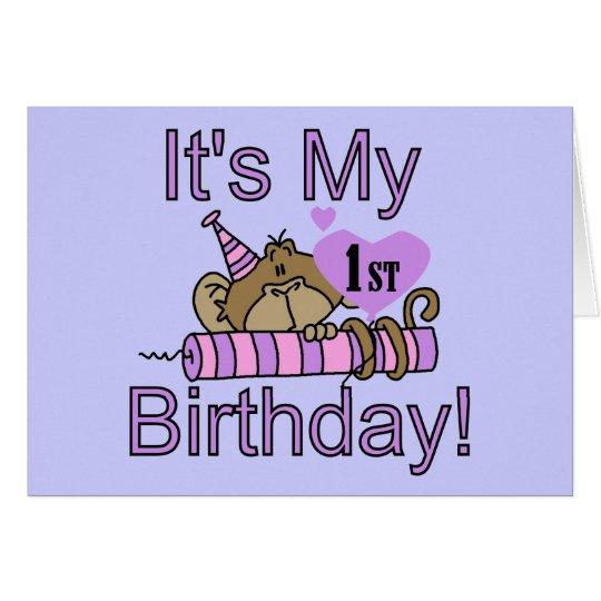 Girl Monkey 1st Birthday Greeting Card