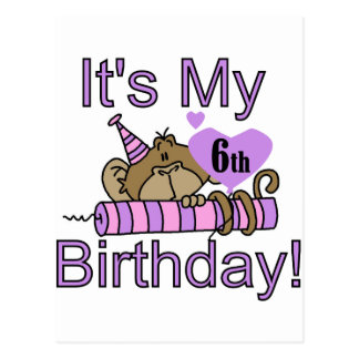 Girl Monkey 6th Birthday Tshirts and Gifts Postcard
