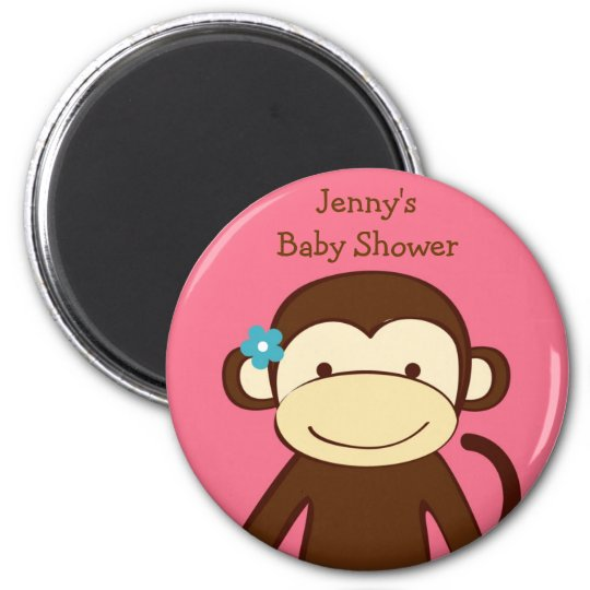 Girl Monkey Baby Shower Favour Magnets