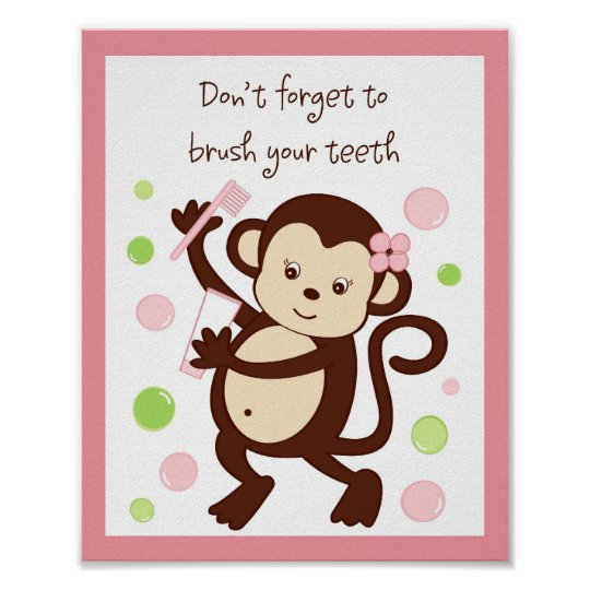 Girl Monkey Bubbles Kids Bathroom Wall Art Print