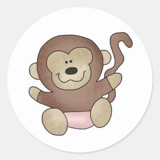 Girl Monkey Classic Round Sticker