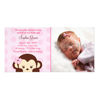 Girl Monkey Custom Photo Birth Announcements Card