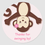 Girl Monkey Favour Stickers Envelope Seals