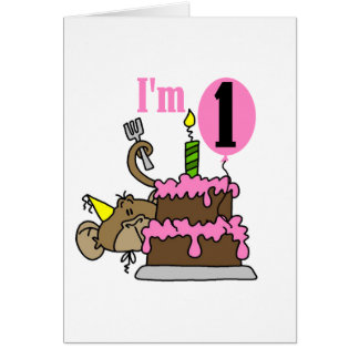 Girl Monkey I m One Birthday Tshirts Cards