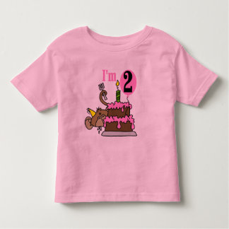 Girl Monkey I'm 2 Birthday Tshirts