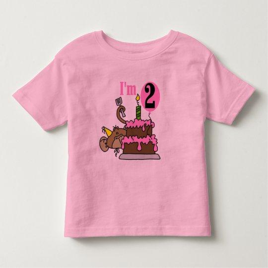 Girl Monkey I'm 2 Birthday Tshirts