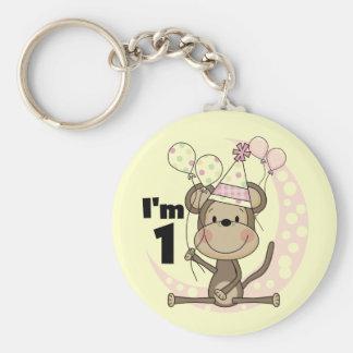 Girl Monkey in Party Hat 1st Birthday Basic Round Button Key Ring