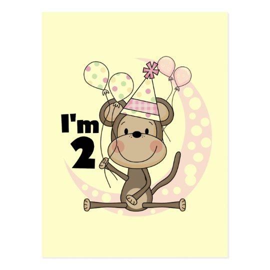 Girl Monkey in Party Hat 2nd Birthday Postcard