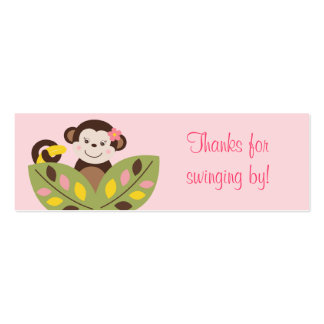 Girl Monkey Jungle Baby Shower Favor Gift Tags Business Card