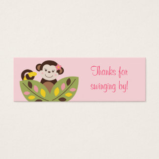Girl Monkey Jungle Baby Shower Favor Gift Tags Mini Business Card