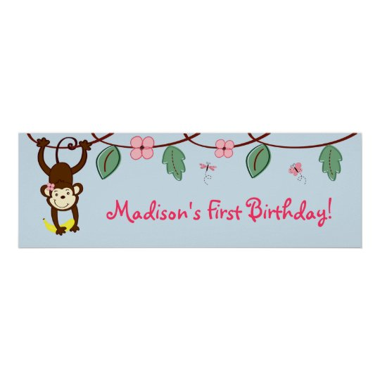 Girl Monkey Jungle Birthday Banner Poster