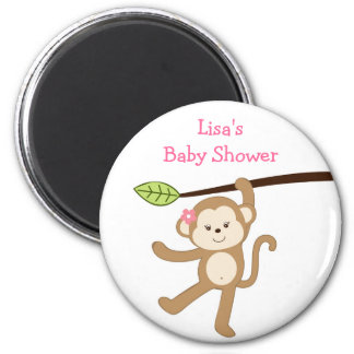 Girl Monkey Jungle Personalized Magnet Party Favor