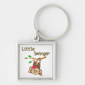 Girl Monkey Little Swinger Silver-Colored Square Key Ring