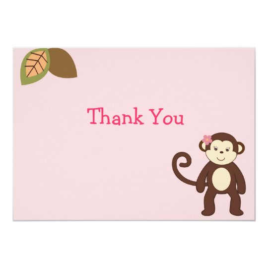 Girl Monkey Safari Flat Thank You Note Cards