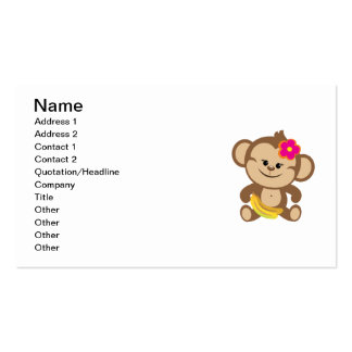 Girl Monkey With Banana Double-Sided Standard Business Cards (Pack Of 100)