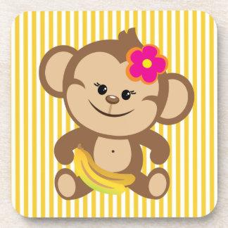 Girl Monkey With Banana Coasters