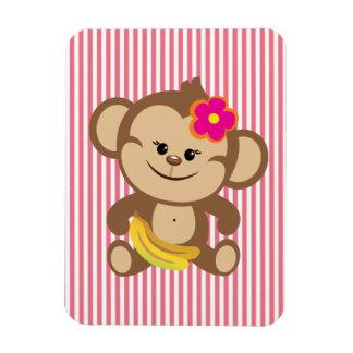 Girl Monkey With Banana Magnet