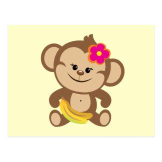 Girl Monkey With Banana Postcard
