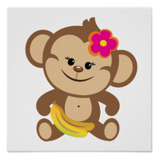 Girl Monkey With Banana Poster