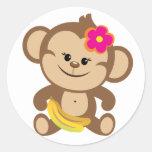Girl Monkey With Banana Round Sticker