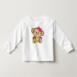 Girl Monkey With Banana Toddler T-Shirt