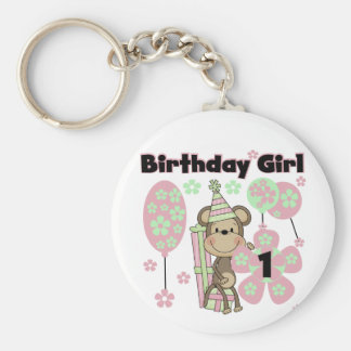Girl Monkey With Gifts 1st Birthday Tshirts Basic Round Button Key Ring