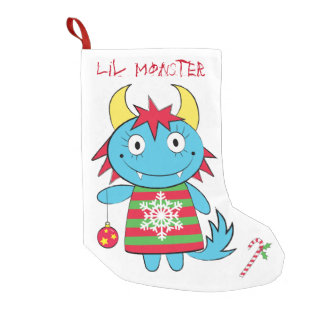 Girl Monster with Ornament Small Christmas Stocking