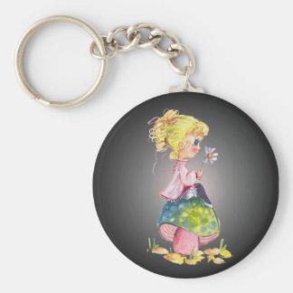 GIRL & MUSHROOM by SHARON SHARPE Basic Round Button Key Ring