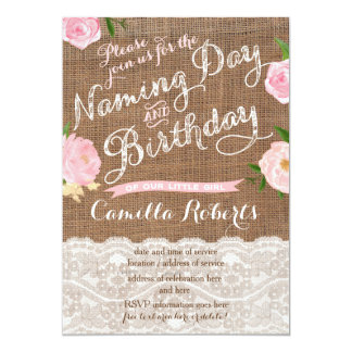Girl Naming Day and Birthday Party  Invitations