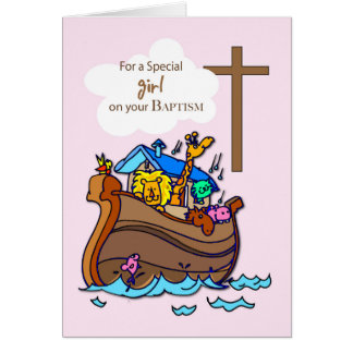 Girl Noah's Ark Baptism, Cute Animals Card