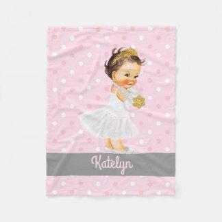 Girl Nursery Personalized Princess Pink Polka Dots Fleece Blanket