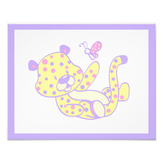 Girl Nursery Wall Art Print Cheetah Pink Purple Photo
