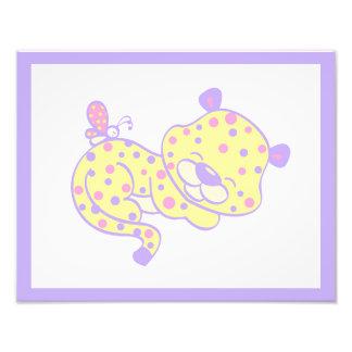 Girl Nursery Wall Art Print Cheetah Pink Purple Photographic Print