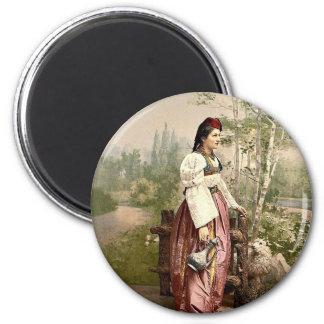 Girl of Sarajevo, Bosnia, Austro-Hungary classic P 6 Cm Round Magnet