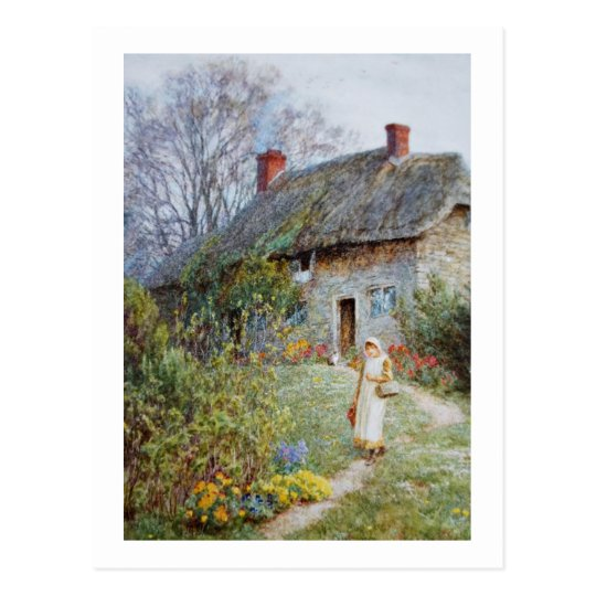 Girl on a Cottage Path Postcard