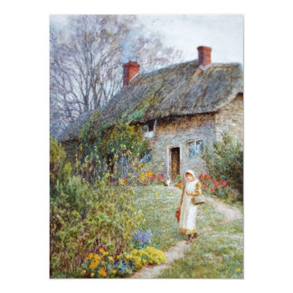 Girl on a Cottage Pathway 14 Cm X 19 Cm Invitation Card